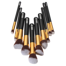 Portable Professional 10Pcs Makeup Brushes Sets Black Soft Beauty Synthetic Foundation Powder Hair Make up Tools Kit Cosmetics