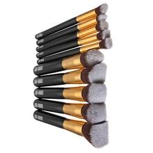 Portable Professional 10Pcs Makeup Brushes Sets Black Soft Beauty Synthetic Foundation Powder Hair Make up Tools