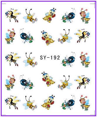 1X Nail Sticker Cartoon Bee Water Transfers Stickers Nail Decals Stickers Water Decal Opp Sleeve Packing SY192(China (Mainland))