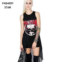 1 Piece Cotton Mesh Women's Summer Plus Size Sexy Black Skeleton Printing Irregular Hand Painted Sleeveless Dress Lady Fourreau