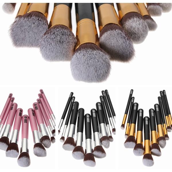 Free Shipping 10Pcs Professional Makeup Brush Sets Kit Soft Hair Beauty Make up Foundation Powder Contour Tools Cosmetic Colors(China (Mainland))