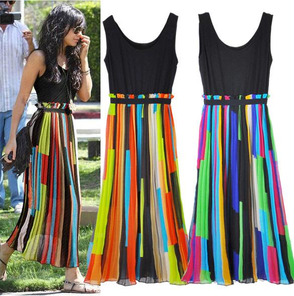 European and American color striped chiffon dress(China (Mainland))
