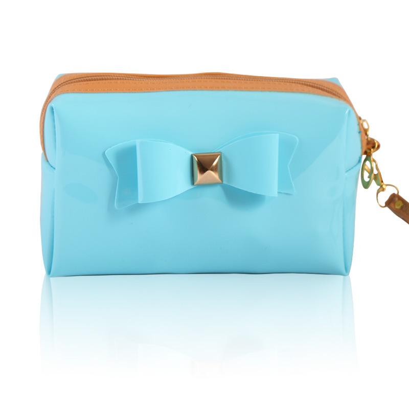 2015 Fashion New Bow PVC Cosmetic Bag Handbags Portable Waterproof Beautician Leather Toiletry Kits Bag Organizer Free Shipping(China (Mainland))