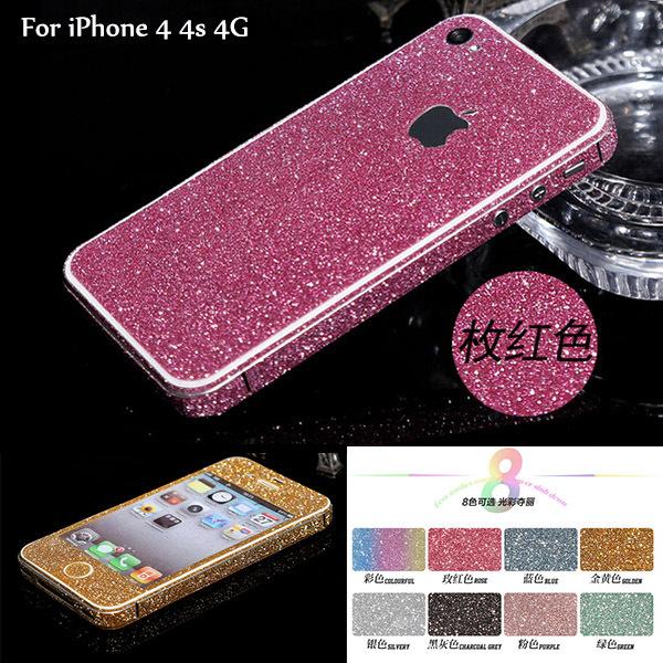 Korea Style Fashion Glitter Rhinestone Case Cover For iPhone 4 4S 4G Brand New Sparkly Full Body Matt Sticker Perfect Gift(China (Mainland))