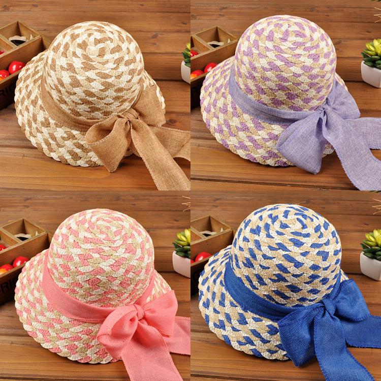 2015 new arrive hot sale big bowknot girls high quality handmade kids straw hat(China (Mainland))