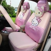 Hello kitty 18pcs ice silk classical cartoon car seat cover full set car steering wheel cover Hand Brake Cover