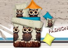 Ann / a agradable noche 2015 nuevo producto owl 3d juego de cama king size cubierta del edredón hoja de cama de cama cover set(China (Mainland))