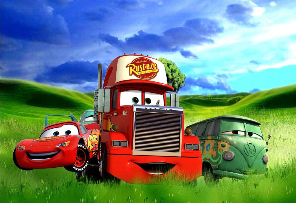 8x8FT Green Grass Field Hills Lighting Mcqueen Mater Truck Cars Custom Photography Backdrops Studio Backgrounds Vinyl 2.4x2.4m(China (Mainland))