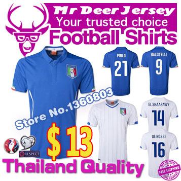 2015 Italy jersey Home away soccer Jersey 2016 European championship qualifier Italia shirt +short BALOTELLI PIRLO MARCHISIO(China (Mainland))
