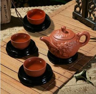 Purple clay Teapot yixing kung fu teapot tea set 4 IN 1