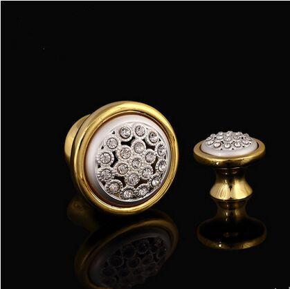 deluxe gold drawer pull knob cabinet knob crystal diamond white dresser cupboard wardrobe furniture decoration knob handle pull(China (Mainland))
