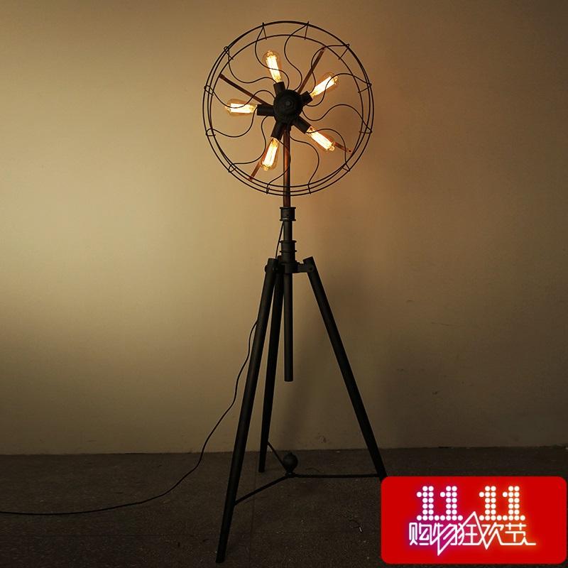 [Kc] lamp loft American country style designer creative industries trigeminal fan tripod floor lamp(China (Mainland))