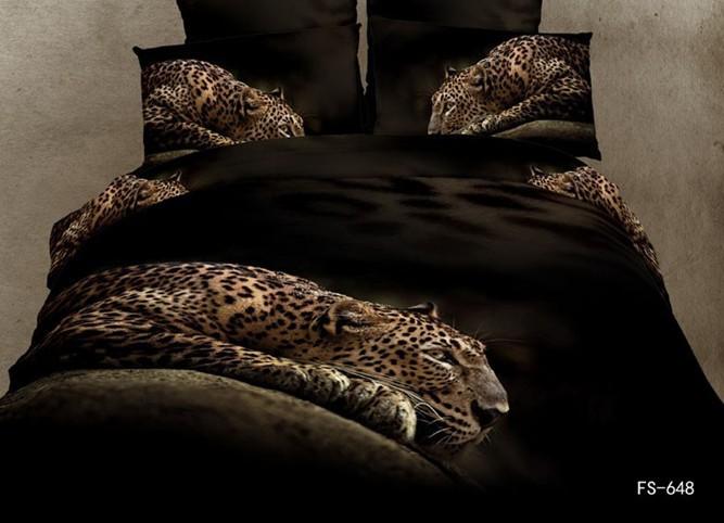 3d Animal bedding set 3d leopard bedding-set leopard lovely 3d puma bed linen 100% COTTON 3d quilt cover bed sheet 2660(China (Mainland))