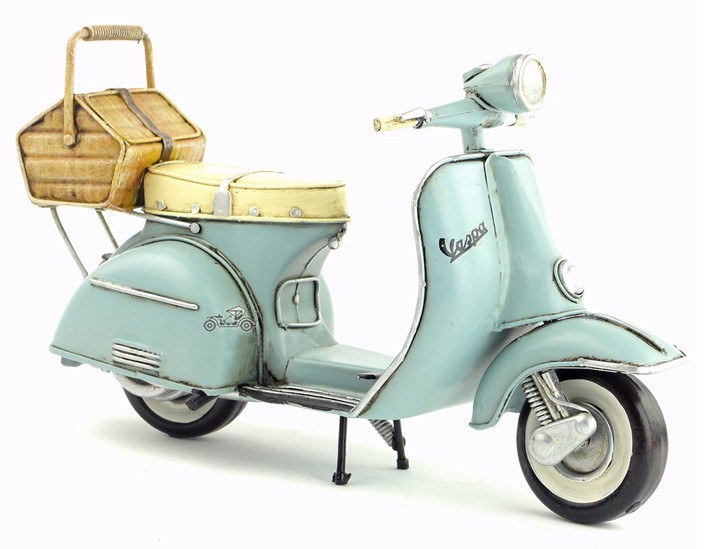 Free Shipping Handmade Antique Tin Model Motorbike VESPA Scooter 1965 TYPE 2(China (Mainland))