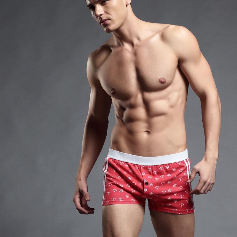 Хлопок якоря печать мужчины сексуальный для дома шорты боксер нижнее белье
