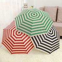 summer hoilday three folding Retrokids men women kids sunny and rain stripe pencil  umbrella parasol Non-automatic 6 colors 1pcs