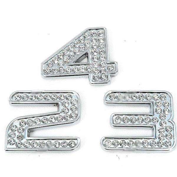 Resing Shining Cool 3D Rhinestone + Metal Number Shaped Universal Car Decoration Sticker RST-264231(China (Mainland))