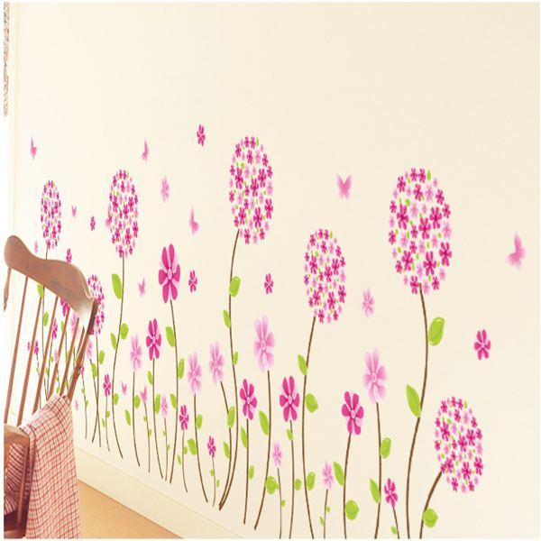 Lovely Flower Pan-dora Waist Wall Sticker Kids Room Bedroom Skirting Line Murals Background Corner Stairs Decals(China (Mainland))
