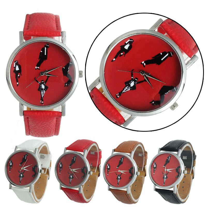 Feitong 2015 Fashion Retro PU Leather Michael Jackson Dance Band Casual Analog Quartz Wrist Watch For Women Men Free Shipping(China (Mainland))
