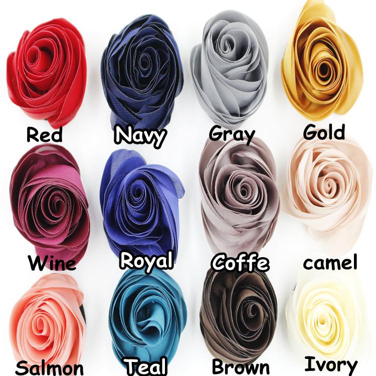 Handmade Satin rose flower without clip,Brooch fabric silk flower Craft DIY for Women Children hair accessories(China (Mainland))