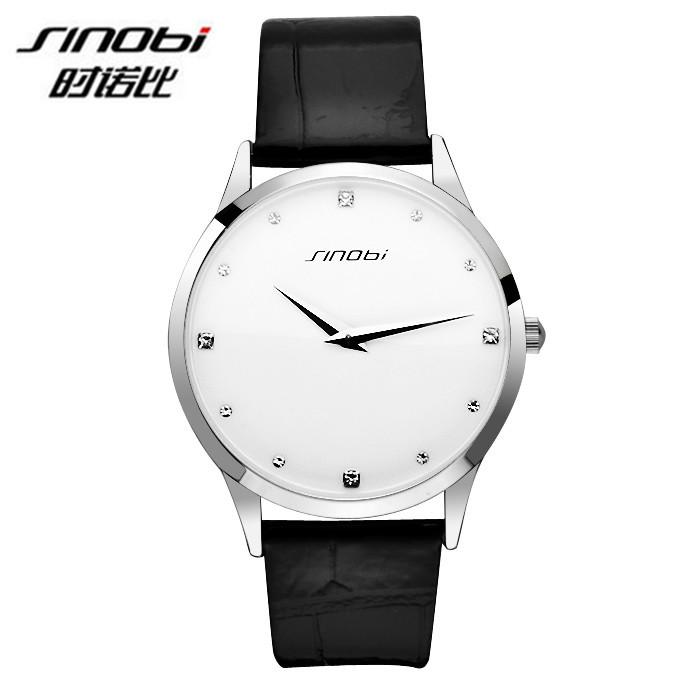 Верхний! Simple стиль кварцевый свободного покроя часы мужчины платье часы SINOBI марка кожа лента наручные часы