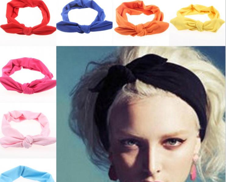 2015 new cute women Rabbit ears headband high quality boutique hair bows womens headbands hair accessories 10 colors(China (Mainland))