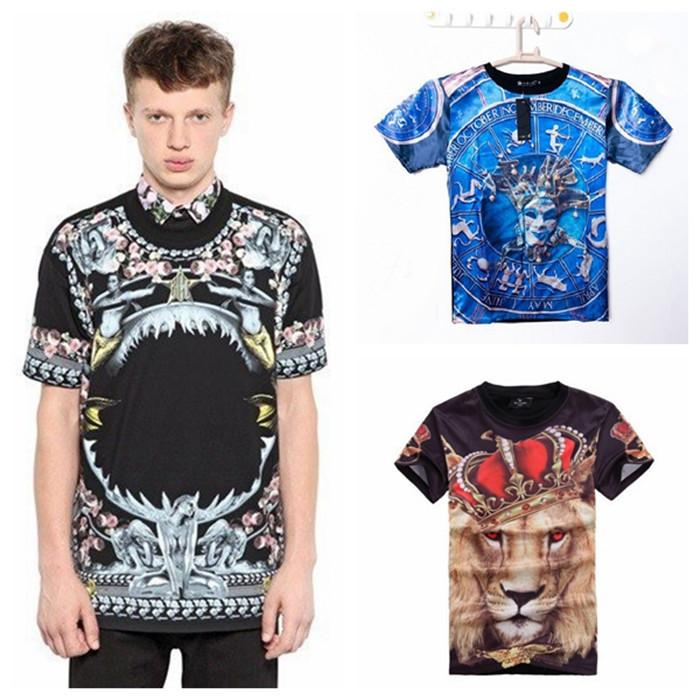 2015 Brand Men Hip Hop Casual V 3d Lion Print Hip Hop T