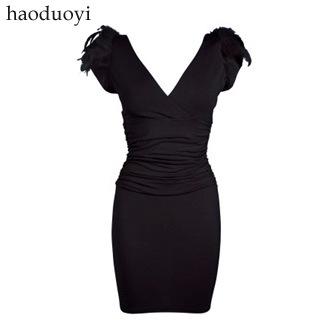 2015 Women's Fashion LIPSY luxury nightclub Queen Feather shoulder pads deep V collar slim dress dress(China (Mainland))