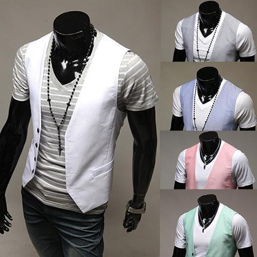 2015 new solid color men's single gilet for men suit vestreasted slim candy-colored vest gilet men waistcoat dress vests(China (Mainland))