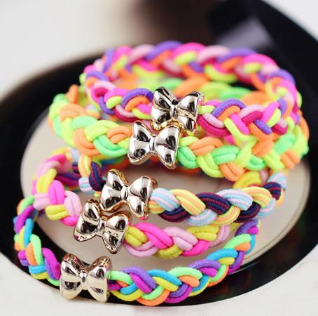 10 Pcs/ Lot New Fashion Braided Super Stretch Hair ties/ Elastic Hair Bands Women Hair Accessories(China (Mainland))