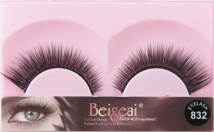 BEIGEAI 1 pair Thick natural mink eyelashes false eye lashes Strip fake Eyelash thick Handmade Eyelash Mink Fur eye lash 832(China (Mainland))