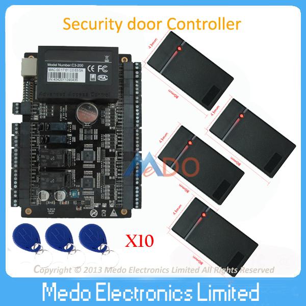 Tcp/ip Network C3-200 Intelligent Two Door Rfid Access Control Panel+4 PCS Mini Wiegand ID Card Reader Rfid Access Control(China (Mainland))