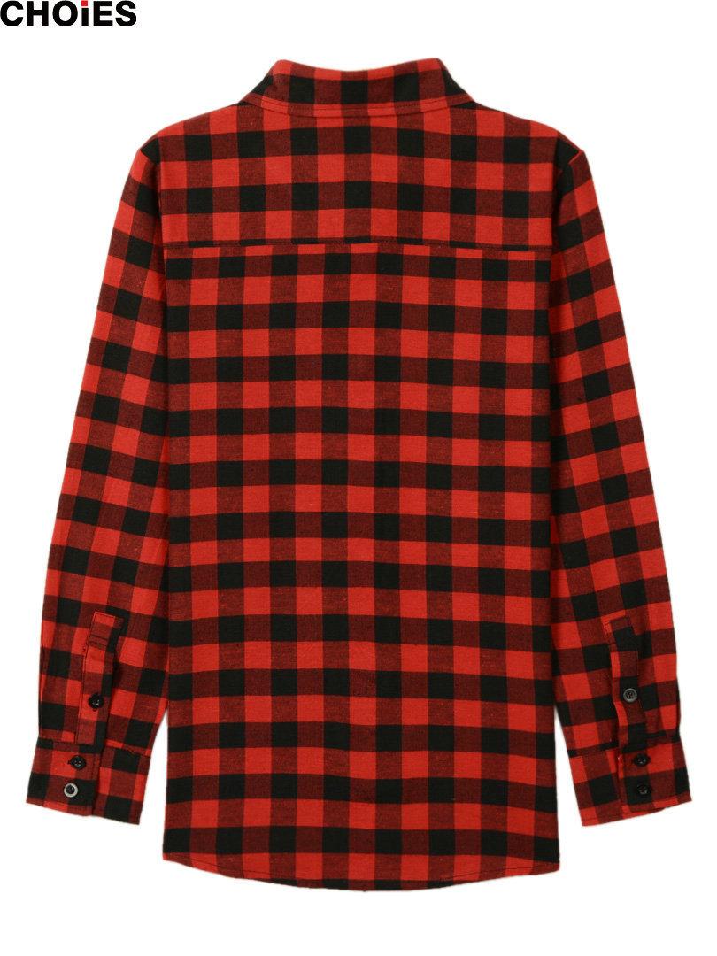 Choies женщины красный шотландка горошек горох с подкладкой с отложным вниз воротник длинный рукав рубашка блузка быстрый корабль sl весна