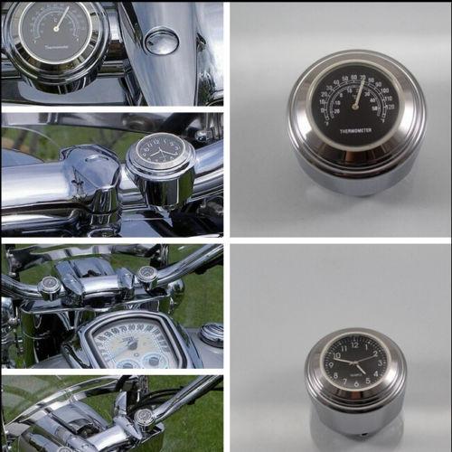"7/8"" 1"" Motorcycle Handlebar Chrome Dial Clock Temp Thermometer Fr Harley Suzuki Dial clock Temperature Thermometer(China (Mainland))"