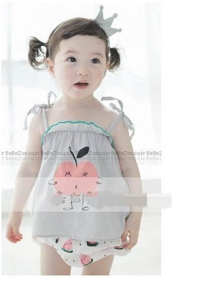 Wholesale Girl Sets Apple Printing Sun-top+Shorts 2pcs Summer Set 12022(China (Mainland))