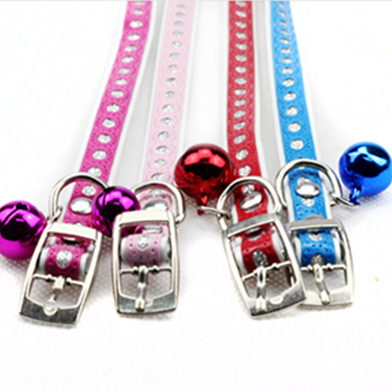 Top Quality Bell Pendant Leather Buckle Pet Dog Collar Puppy Cat Pet Spiked Neck Strap Free shipping Drop shipping CW0019*5(China (Mainland))