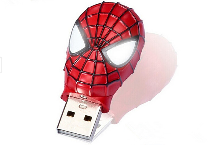 High Speed New White LED eye Spider man head usb 2.0 memory flash stick pen drive for computer(China (Mainland))