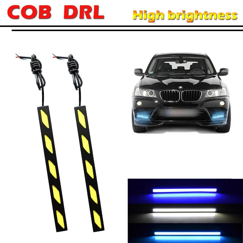 1pair/17cm 12W universal Daytime Running Light Ultra-thin COB Chip Brand New update LED DIY DRL Parking Fog car lights(China (Mainland))