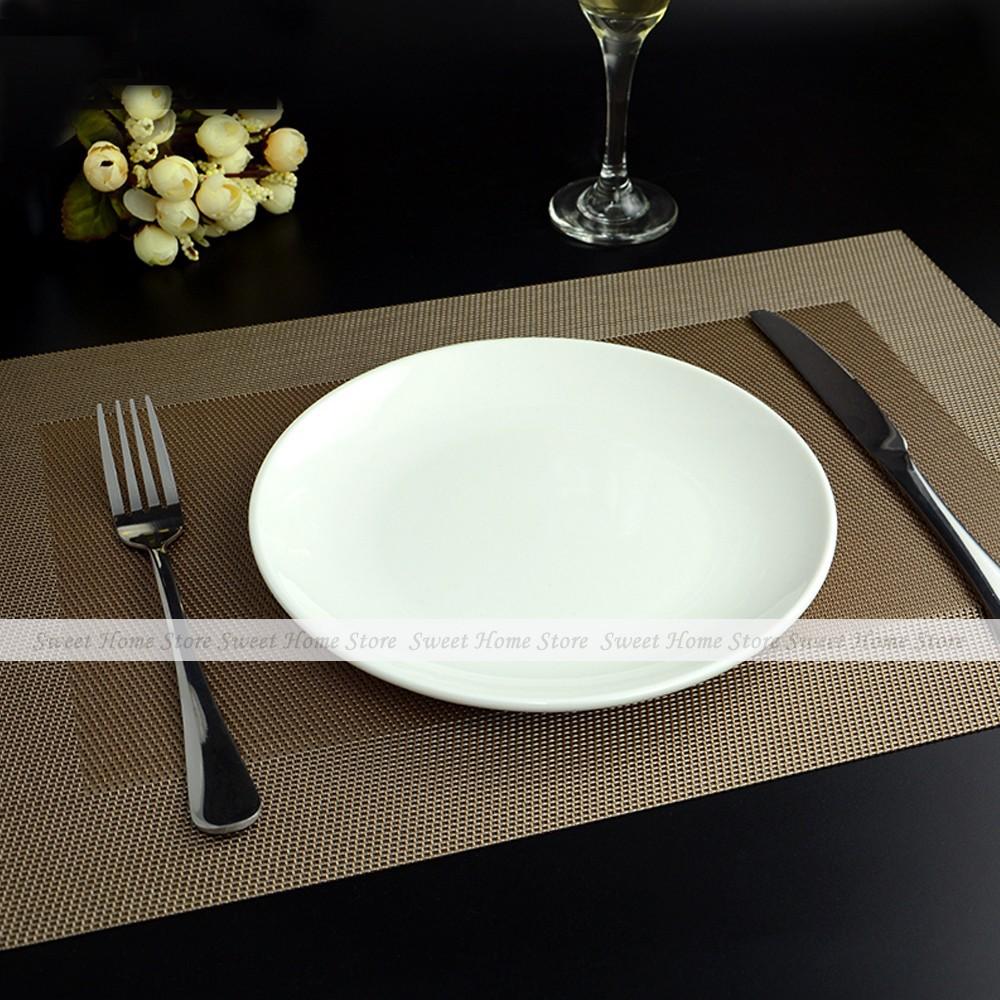 YEVITA 2pcs Simple Border Woven PVC Placemats Dinner Decor Table Place Mat Brown(China (Mainland))