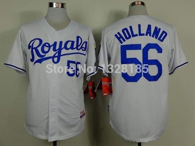 Good Quality Hot Sale!!! free shipping cheap stitched Kansas City Royals #56 Greg Holland baseball Jersey/shirt /sportswear(China (Mainland))