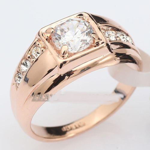 Band Ring 18K GP use Swarovski Crystal Size 6.5-14(China (Mainland))
