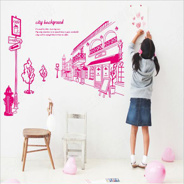 City Light Large Wall Stickers Landscape Wedding Wall Sticker Romantic Bedroom Home Decor Living Room Decals Home Decoration Kid(China (Mainland))