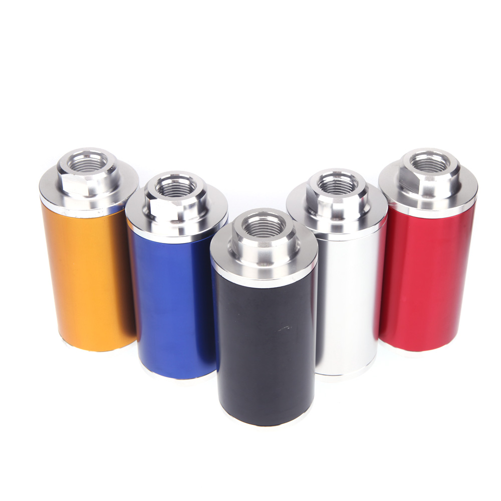 Universal Car Fuel Filter Oil Filter with 2pcs AN6 / AN8 / AN10 Adapter Fittings Black Fittings Red/Silver/Blue/Black/Golden(China (Mainland))