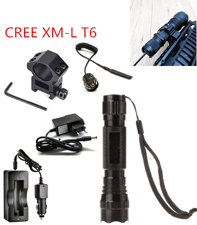 Tactical Flashlight 2000 lumens T6 501B Hunting Rifle Torch Shotgun lighting+Tactical mount+Remote switch+car Charger(China (Mainland))