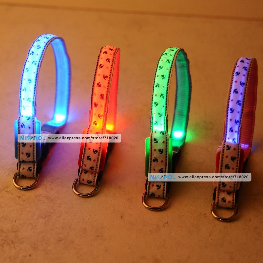 New 1.5 and 2.0m Width LED Light Pet Collars Small Medium Large Dog Safety Glow Necklace Flashing LED Collar(China (Mainland))