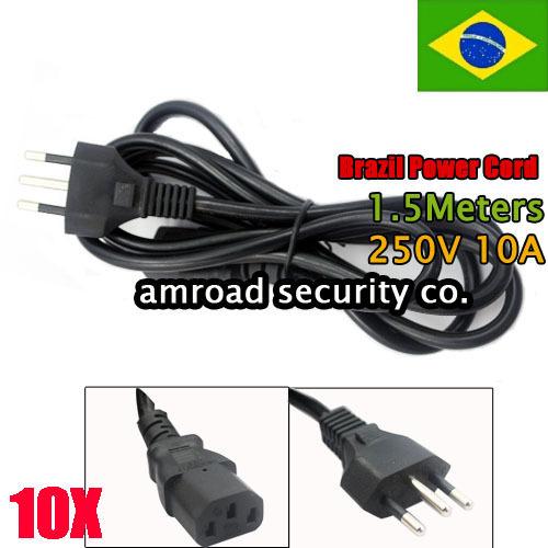 10pcs Brazil Standard Three(3) Pins 0.75 1.5Meters Power Cord Cable Plug Socket, 250V 10A(China (Mainland))