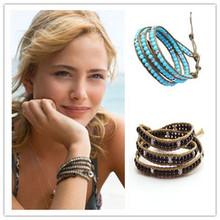 natural agate tiger eye turquoise bracelet woven multi-layer winding men and women handmade bracelet jewelry(China (Mainland))
