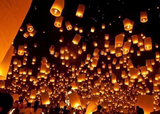 5 Pcs Multicolors Paper SKY LANTERNS Flying Paper Sky Lanterns Paper Chinese Lanterns(China (Mainland))