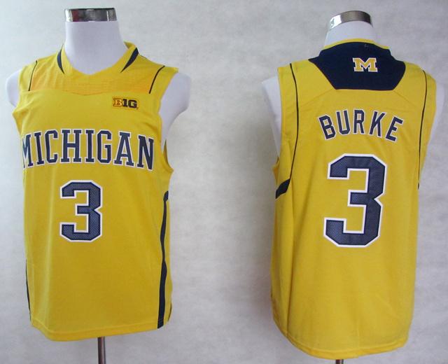 Michigan Wolverines #3 Trey Burke Jersey Yellow Blue White BIG10 Patch Stitched NWT College Basketball Jerseys Polyester S--XXXL(China (Mainland))