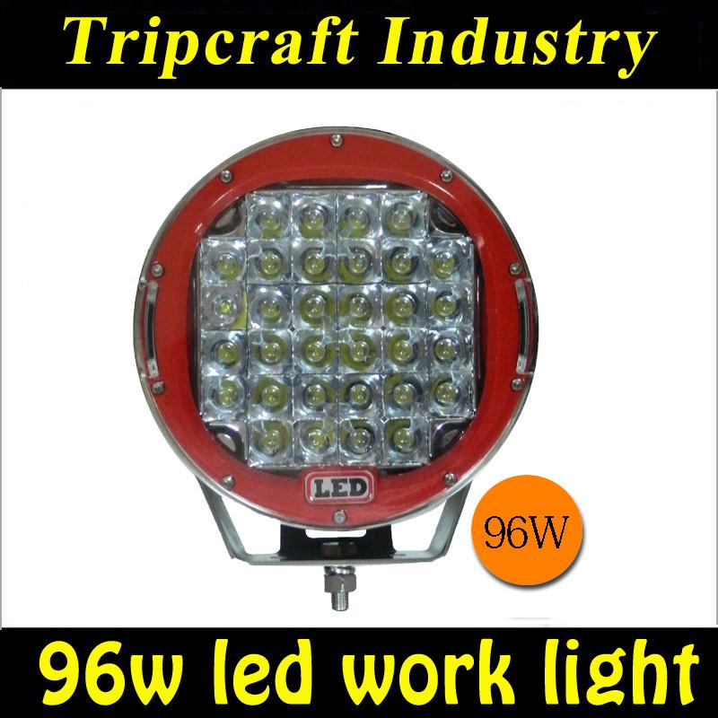 9 inch 96W IP67 LED Work Light Bar Off road Car 12V 24V Round High Power 3400lm 96 Watt Auto Work Light 4x4 Marine Driving Lamp(China (Mainland))
